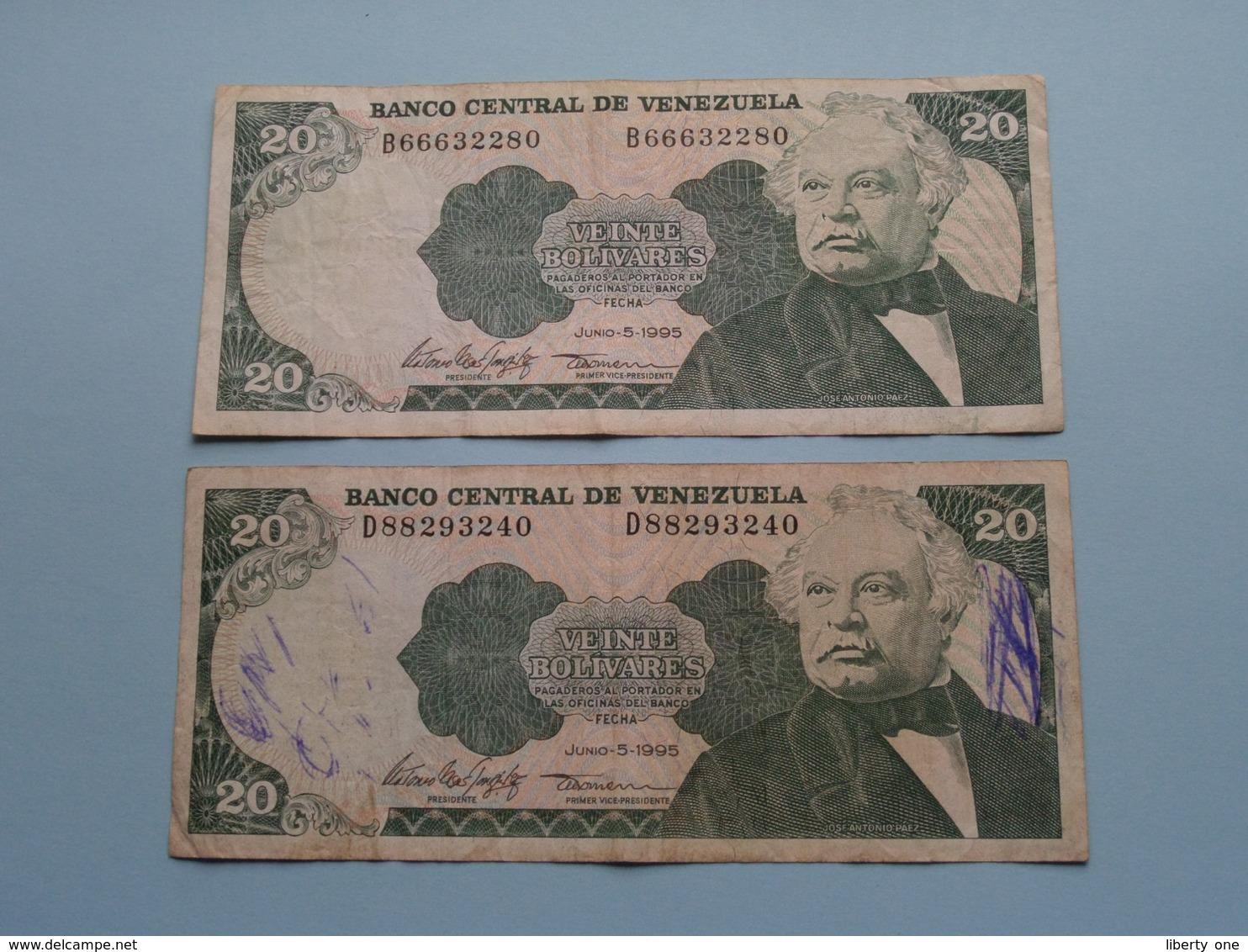 2 X 20 Veinte BOLIVARES ( 1995 ) Banco Central De Venezuela ( For Grade, Please See Photo ) ! - Venezuela