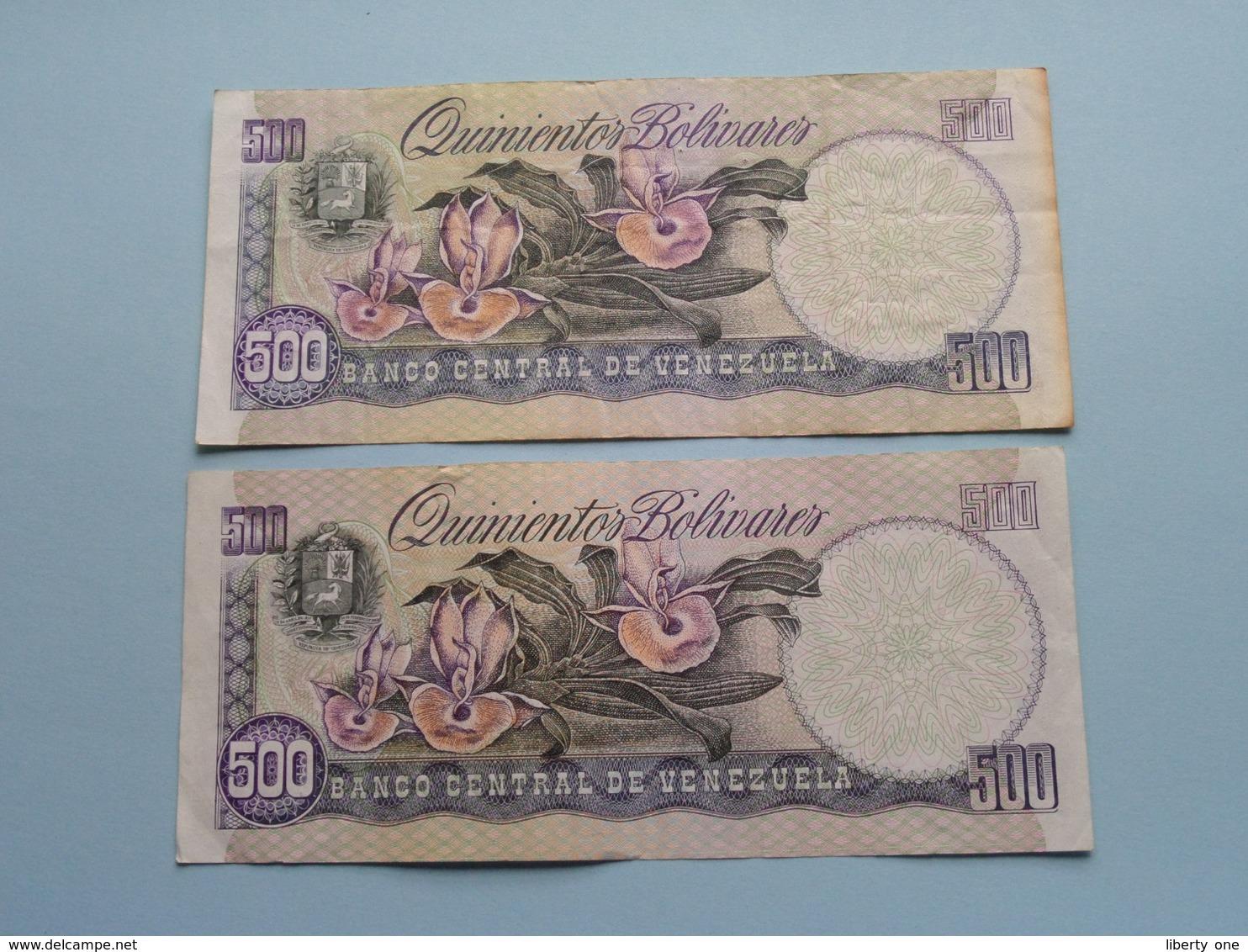 2 X 500 Quinientos BOLIVARES ( 1990 & 1998 ) Banco Central De Venezuela ( For Grade, Please See Photo ) ! - Venezuela