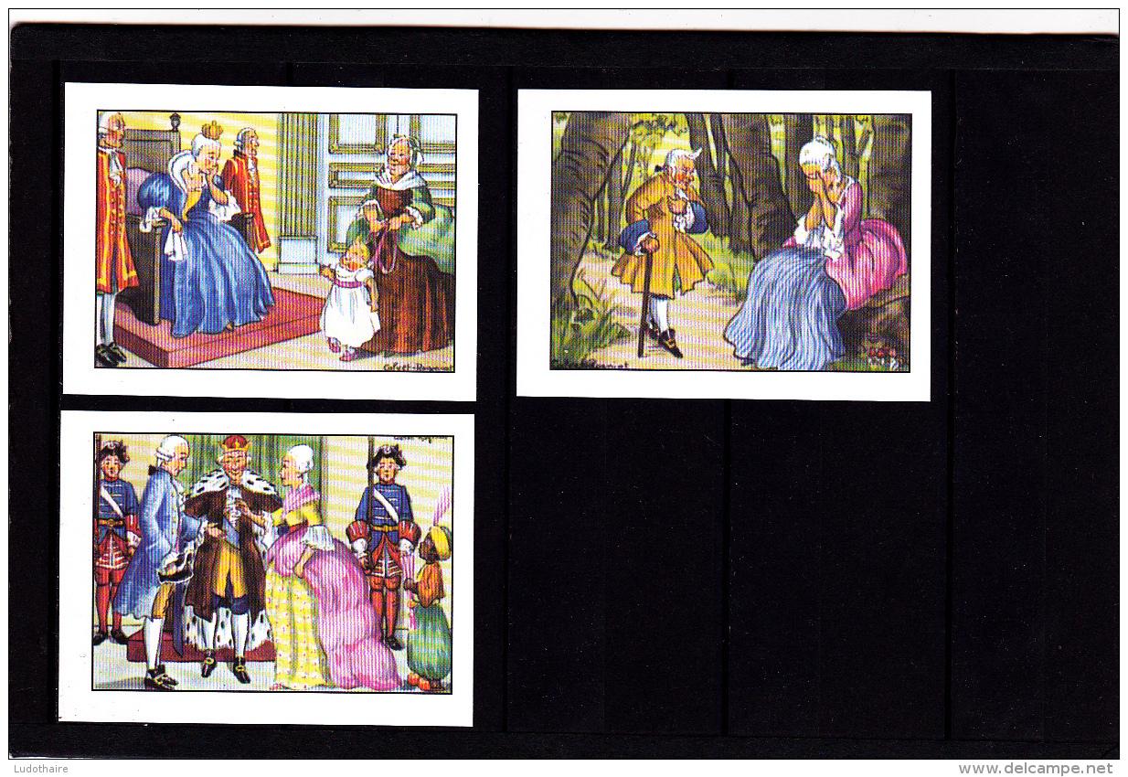 Lot 3 Images, Riquet à La Houppe, Editions Educatives, Scolaire, Illustrateur Calvet-Rogniat - Vieux Papiers