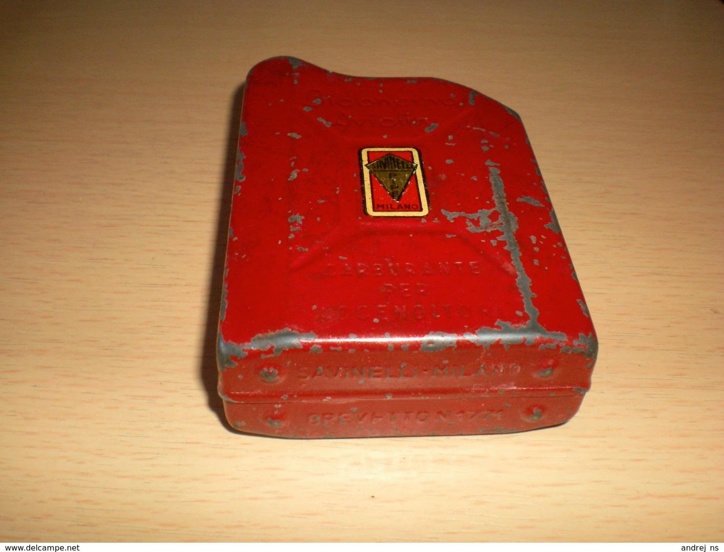 Old Tin Box Bidoncino Aviolin  BENZIN SAVINELLI PIPE MILANO BLECHDOSE Carburante Per Accenditori - Contenitori Di Tabacco (vuoti)