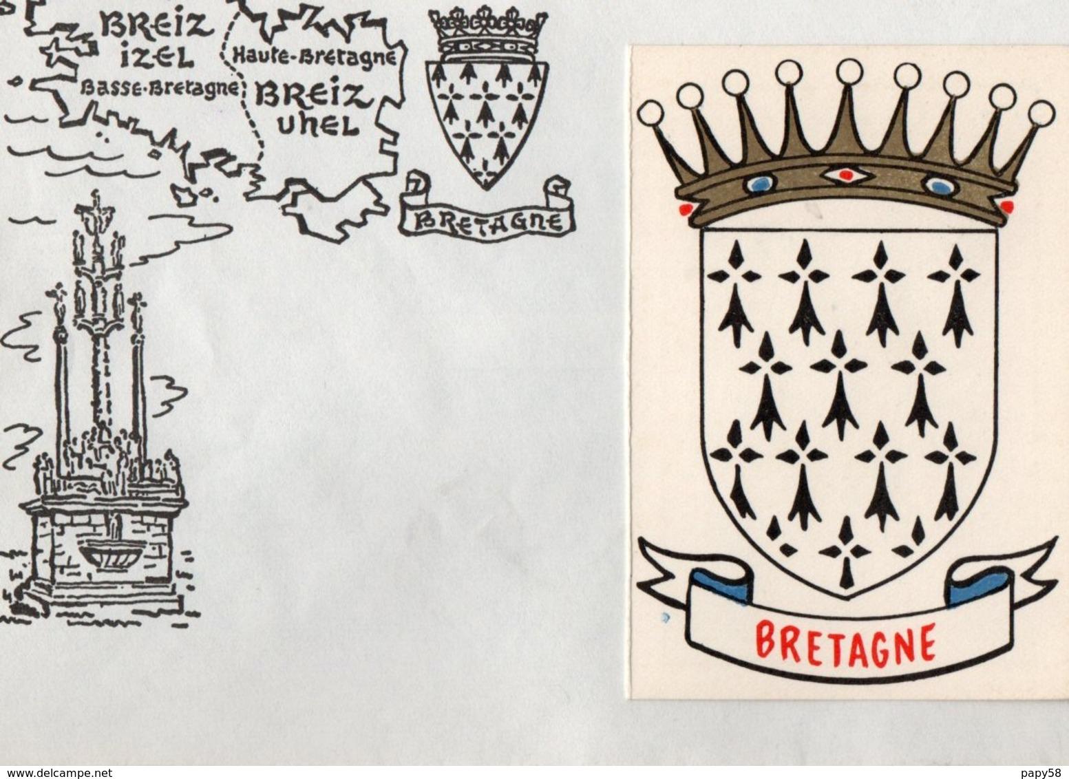Calendriers > Petit Format : 1961-70 Sur Enveloppe Breiz BRETAGNE Année 1968 6 Premiers Mois - Petit Format : 1961-70