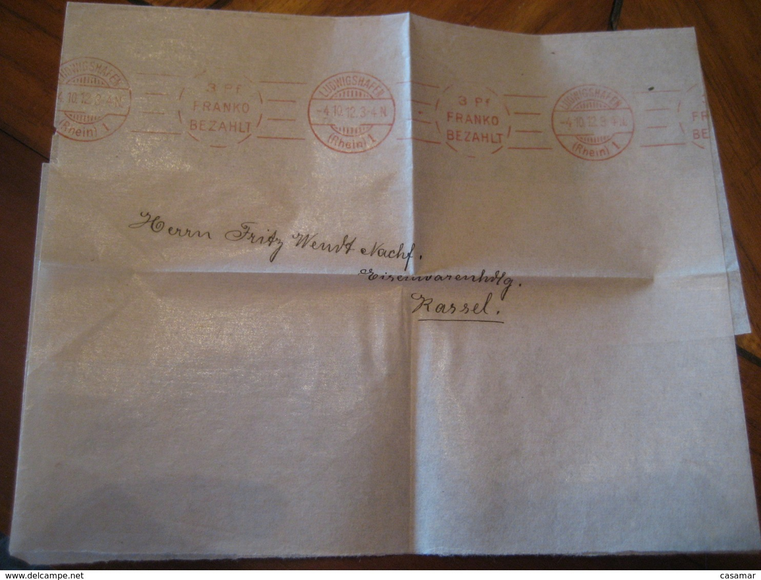 1912 LUDWIGSHAFEN To Kassel 3 Pfennig Meter Mail Cancel Franko Bezahlt Document Frontal Cover GERMANY Empire - Briefe U. Dokumente