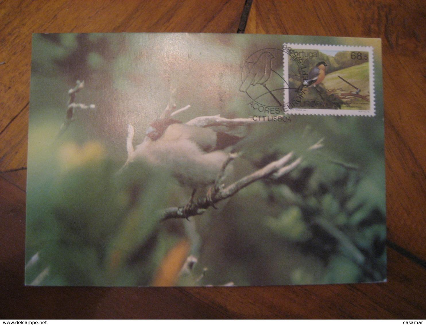 LISBOA 1986 Açores Europa Priolo Bird Pyrrhula Murina Maxi Maximum Card PORTUGAL - Lettres & Documents