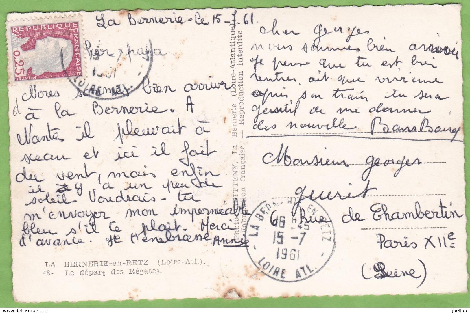 CPSM La BERNERIE En RETZ Départ Des Régates Voilier Format CPA - La Bernerie-en-Retz