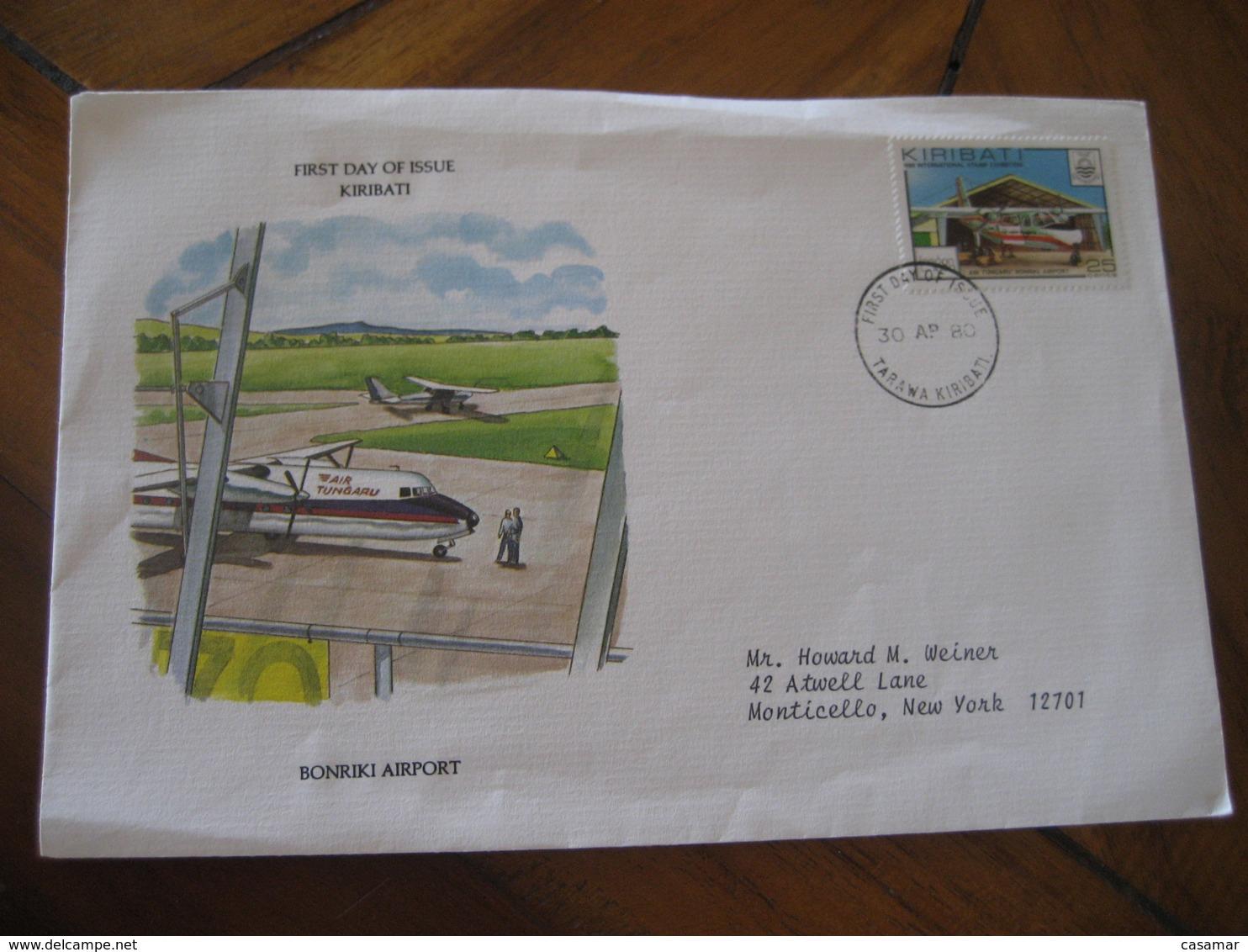 TARAWA Kiribati 1980 To Monticello USA Bonriki Airport Tungaru Airlines FDC Cancel Cover - Kiribati (1979-...)