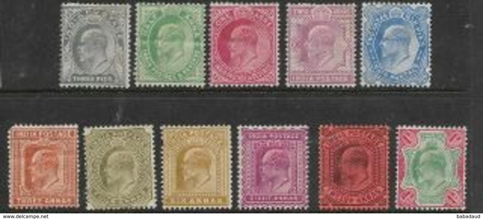India, EVIIR, 1902, Set, 3 P To 1 Rupee MH *, - India (...-1947)