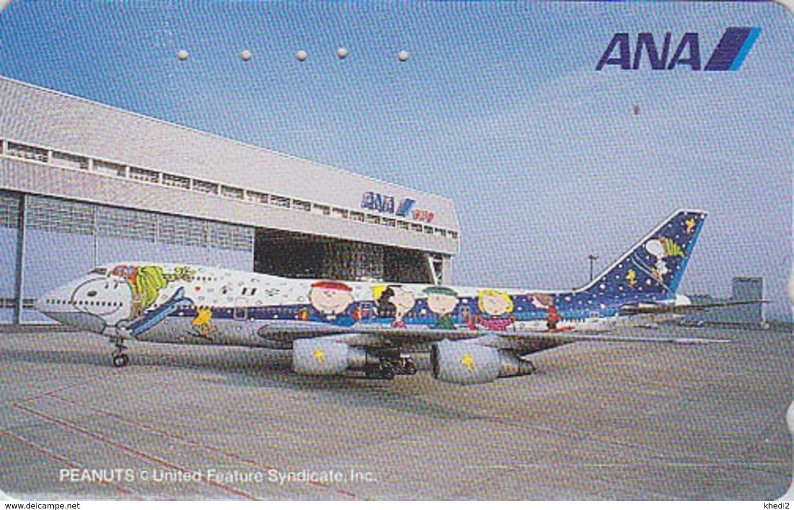 TC Japon / 110-016 - BD Comics - CHIEN SNOOPY * AVION ANA AIRLINES *  - PEANUTS DOG Japan Phonecard - Aviation 1375 - Avions
