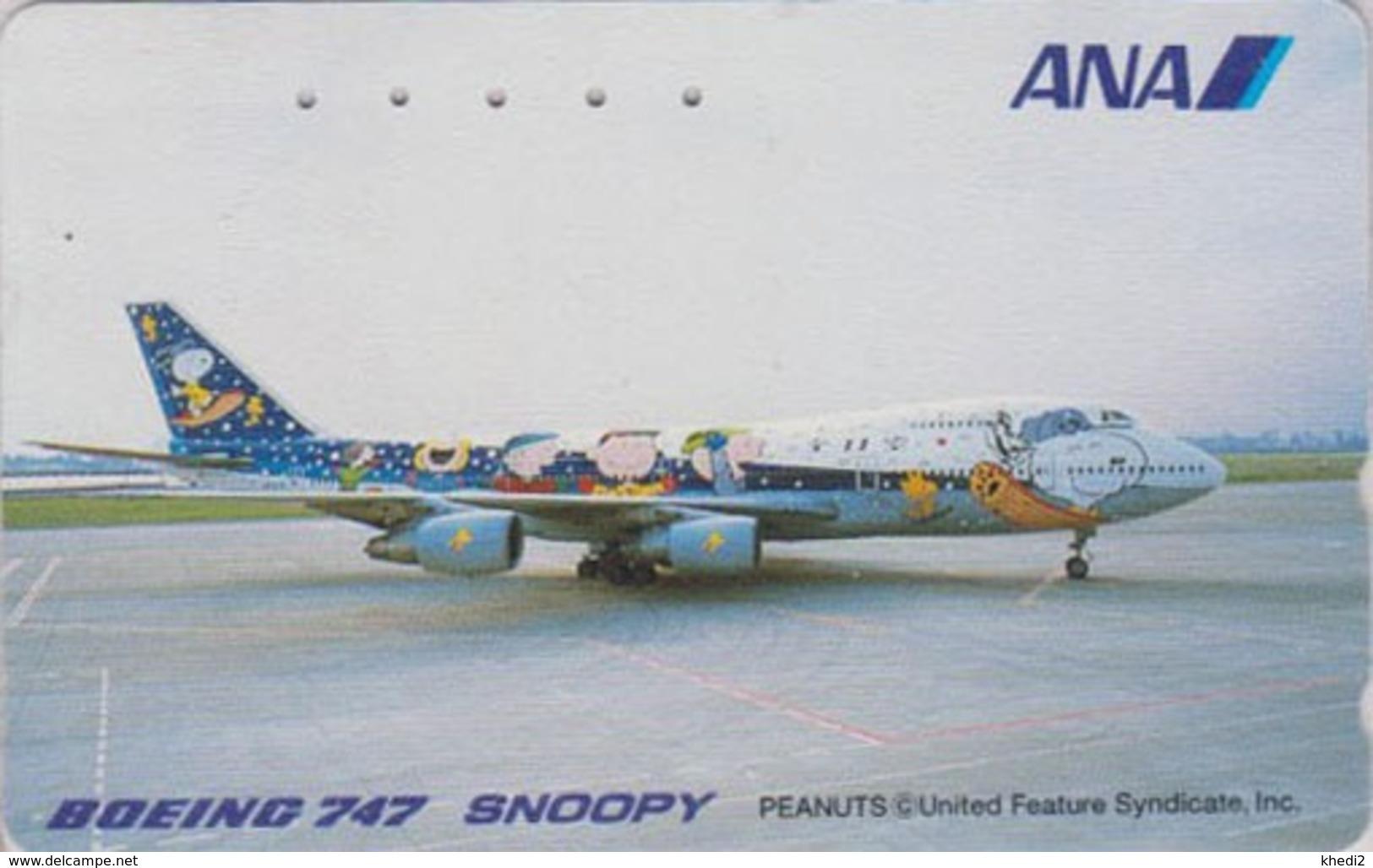 TC Japon / 110-016 - BD Comics - CHIEN SNOOPY * AVION ANA AIRLINES *  - PEANUTS DOG Japan Phonecard - Aviation 1376 - Avions