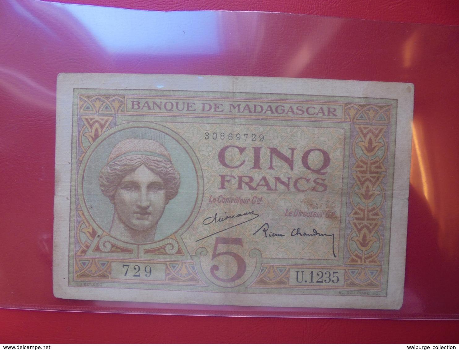MADAGASCAR 5 FRANCS 1937 CIRCULER (B.6) - Madagascar