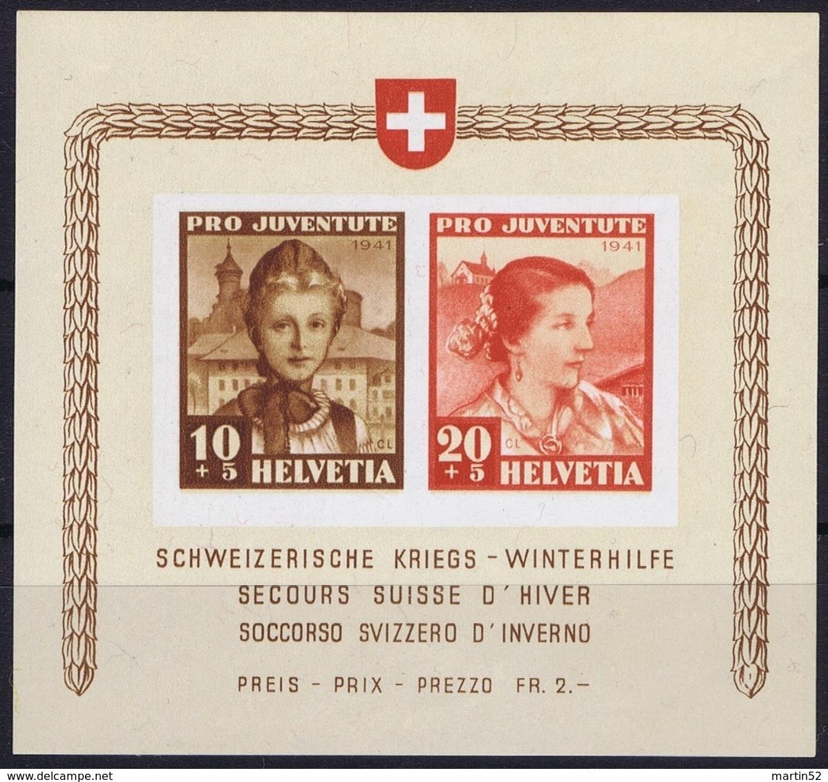 Schweiz Suisse Pro Juventute 1941: Winterhilfe Zu 98+99 I ** Mi Block 6 Yv BF 6 * Falzspur Im Rand MLH (Zu CHF 120.00) - Pro Juventute