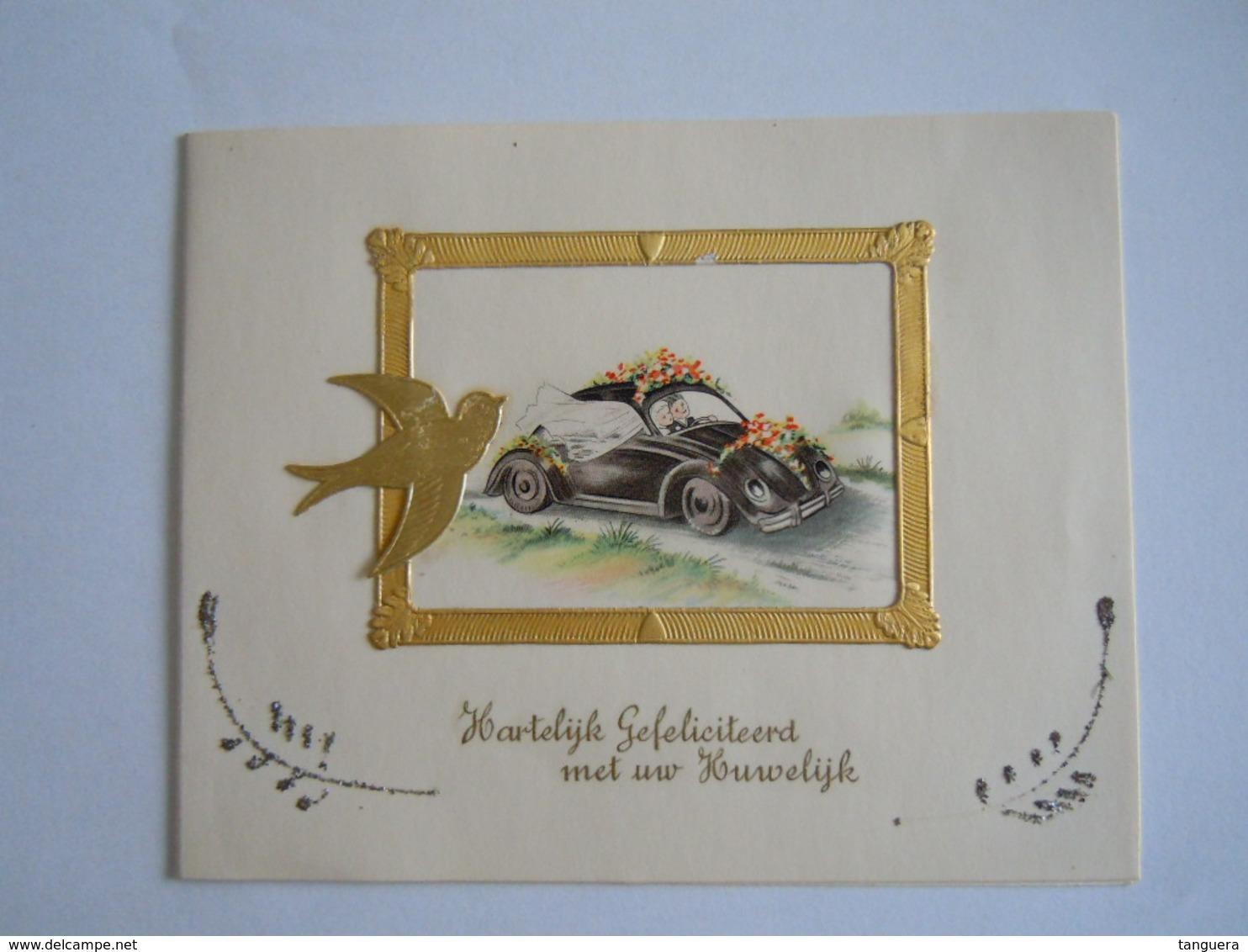 Felicitaties Huwelijk Felicitations De Mariage Carte Double Auto VW Coloprint 11336 Form 14 X 11 Cm - Holidays & Celebrations