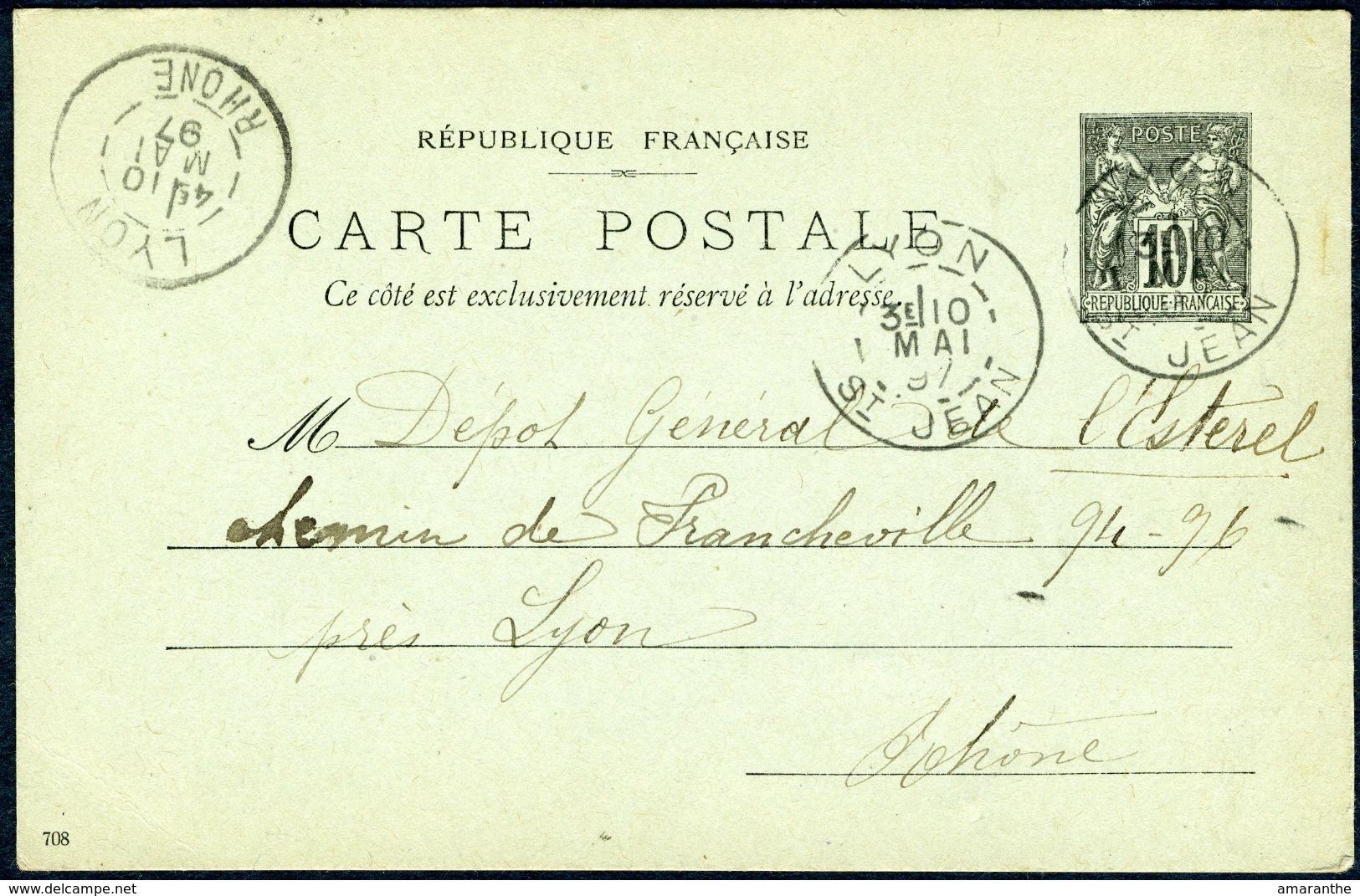 Type Sage - 10 C Noir Carton Vert (1896) Cachets De Lyon 1897 - Entiers Postaux