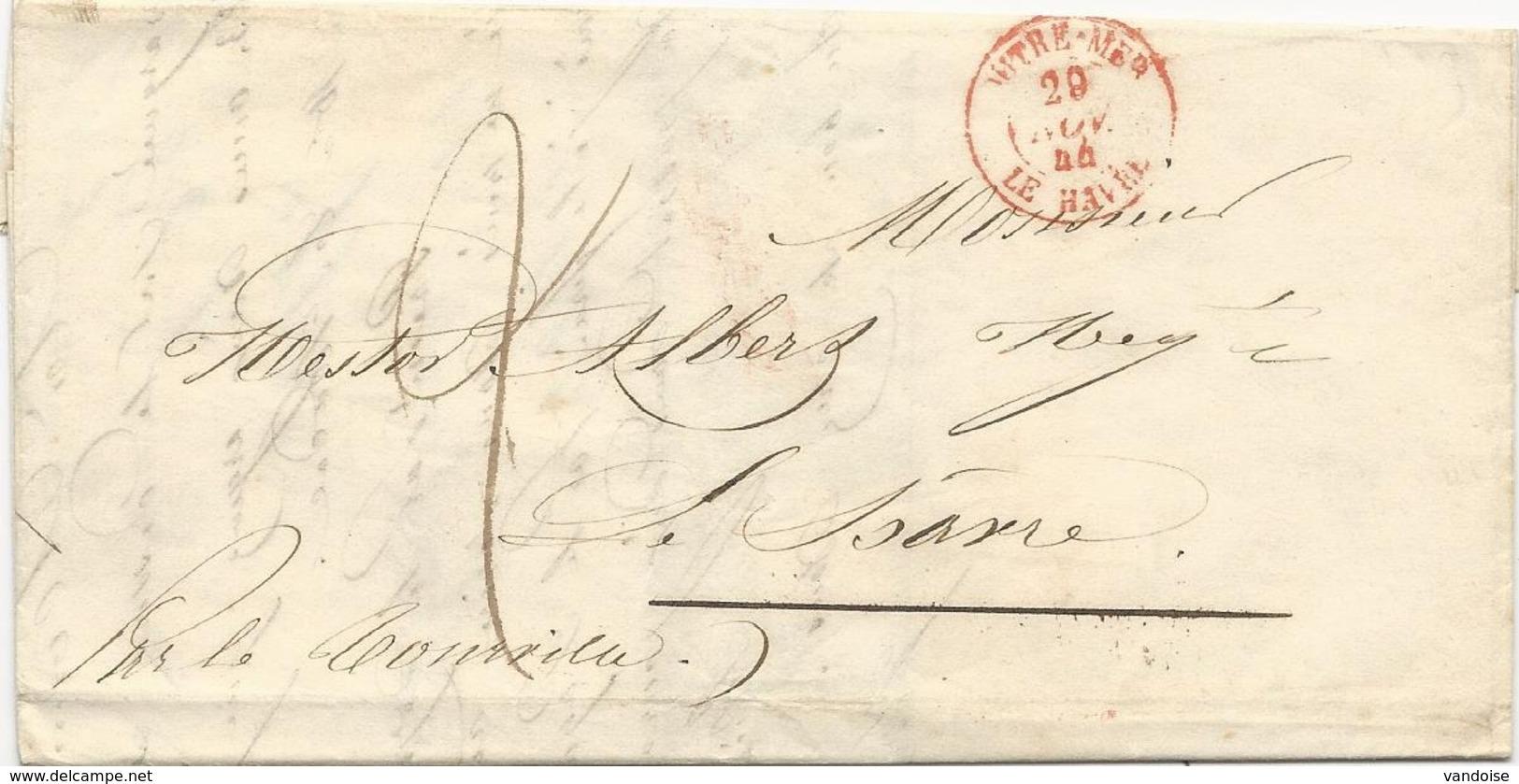 LETTRE DE MONTEVIDEO 1844  AVEC CACHET D'ENTREE MARITIME OUTREMER LE HAVRE - Marcophilie (Lettres)