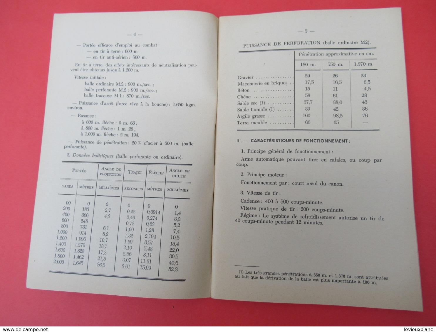 Livret/Ecole D'application De L'Infanterie/La Mitrailleuse Browning USA à Canon Lourd/ 1956    VPN199 - Books