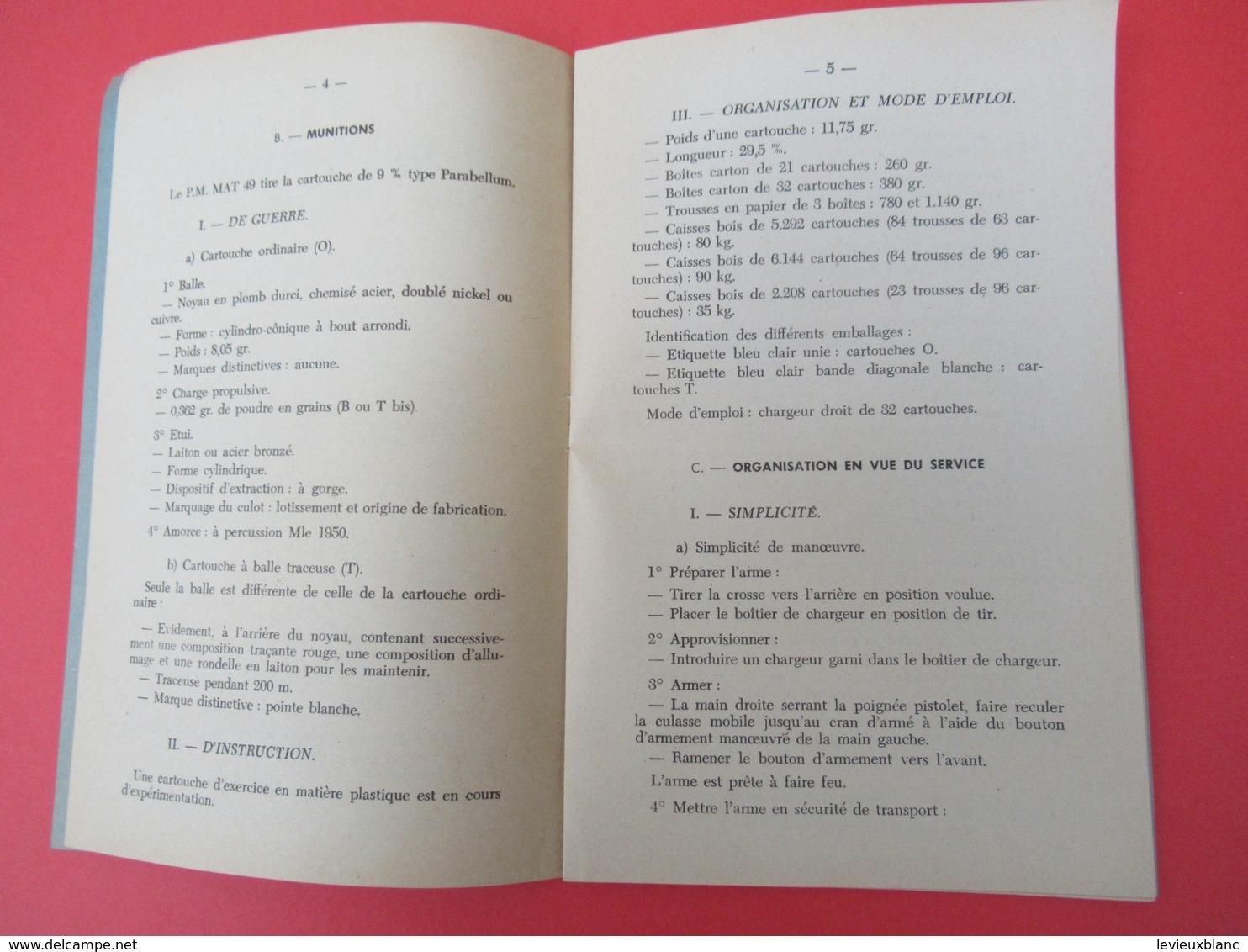 Livret/Ecole D'application De L'Infanterie/Le Pistolet-Mitrailleur  MAT 49/ 1957   VPN200 - Boeken