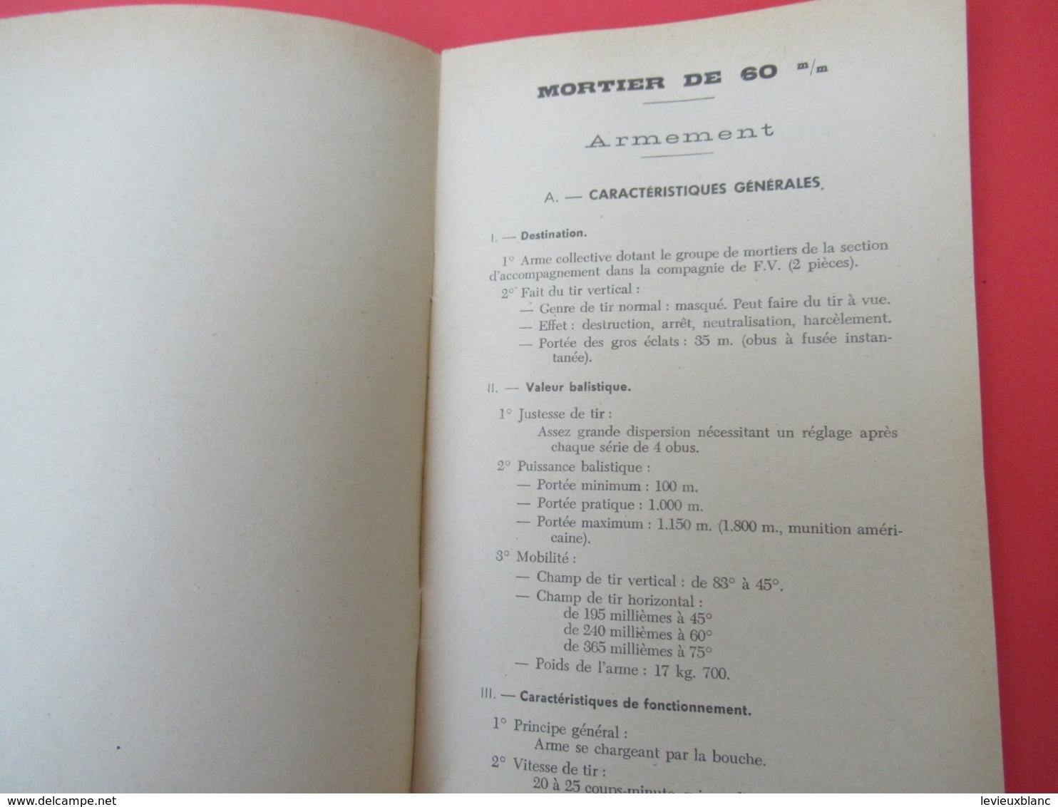 Livret/Ecole D'application De L'Infanterie/Mortier De 60 MmMatériel Et Munitions/ 1957   VPN203 - Boeken