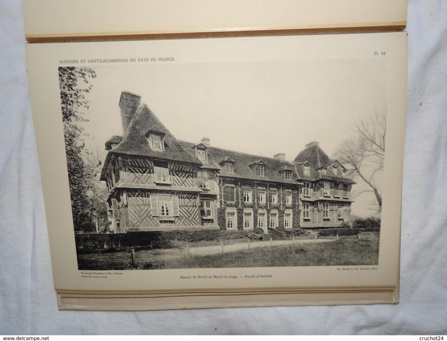 1943 Manoirs Et Gentilhommières De Normandie 40 Planches Par J.gauthier Chez Massin Et Lévy , Dédicacé , Daté , Situé - 1901-1940