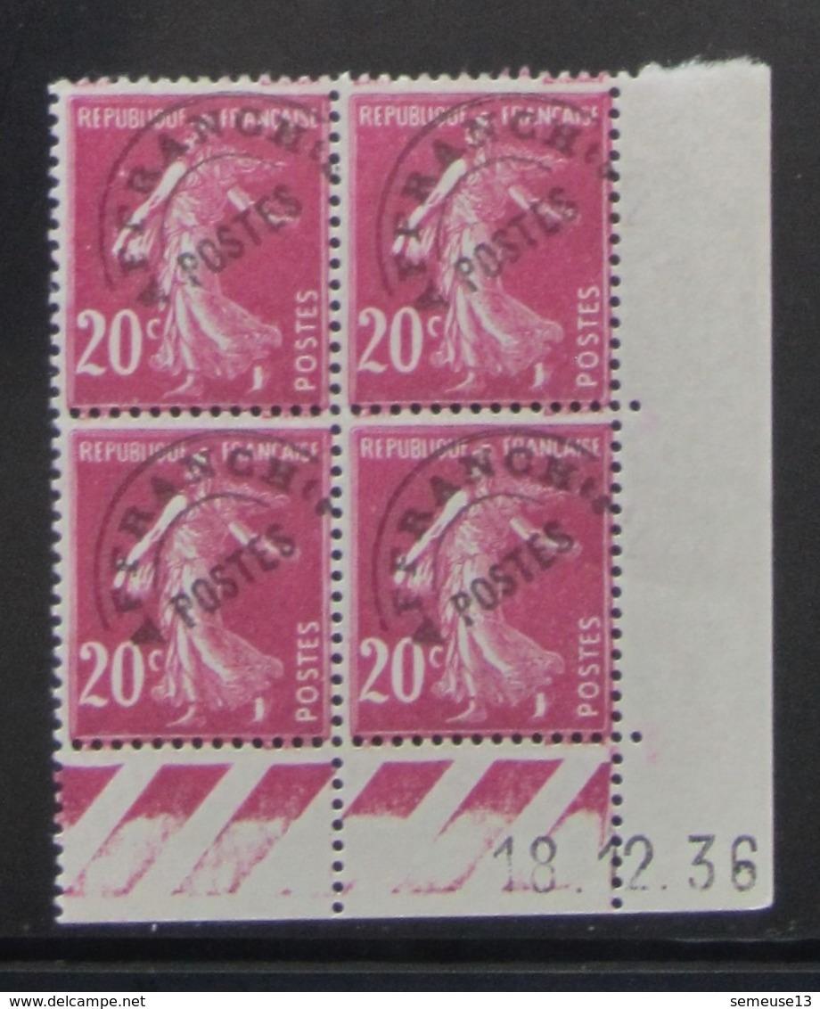 Semeuse 20 C. Rose 190 Préoblitéré 55 En Bloc De 4 Coin Daté - Pas Cher - 1906-38 Semeuse Camée