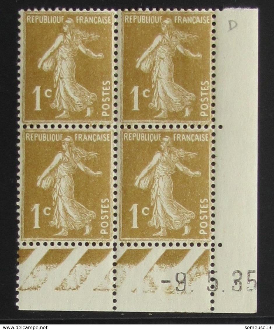 Semeuse 1 C. Bistre Olive 277 A  Bloc De 4 Coin Daté - Pas Cher - 1906-38 Semeuse Camée