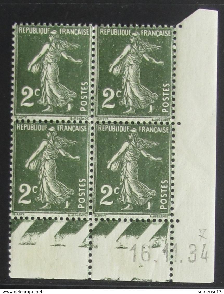 Semeuse 2 C. Vert 278 En Bloc De 4 Coin Daté - Pas Cher - 1906-38 Semeuse Camée