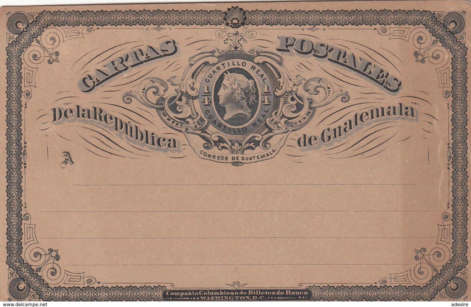 GUATEMALA 189? - 1/4 QUARTILLO REAL GANZSACHE Auf Karte *, Rückseitige Spuren Vom Album - Guatemala