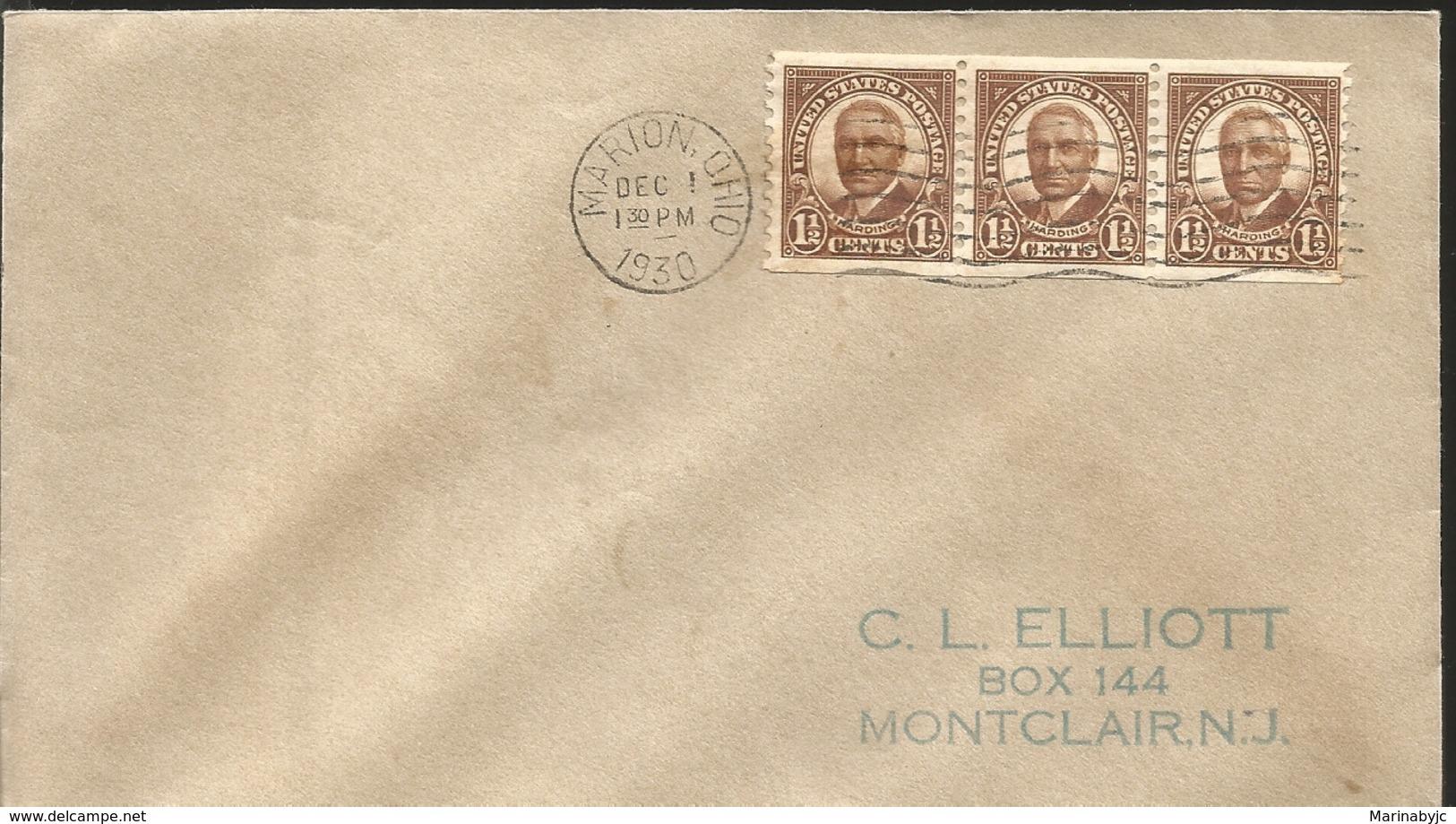 J) 1930 UNITED STATES, HARDING, STRIP OF 3, FDC - United States