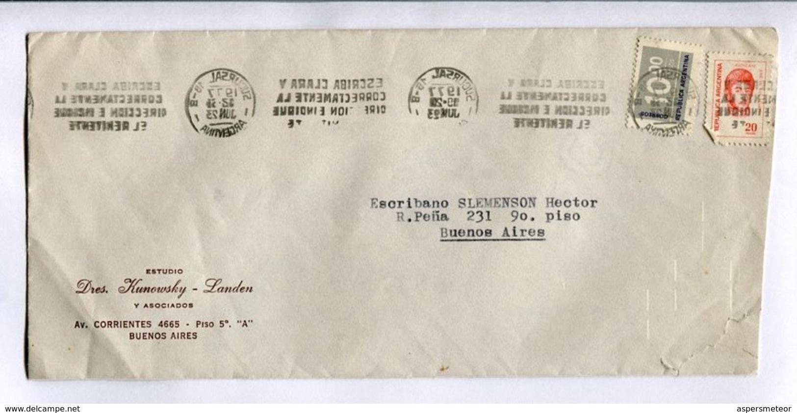 """ESTUDIO DRES KUNOWSKY - LANDEN"" ENVEOPE COMERCIAL CIRCULEE BUENOS AIRES ARGENTINE ANNEE 1977. BANDELETA PARLANTE -LILHU - Storia Postale"