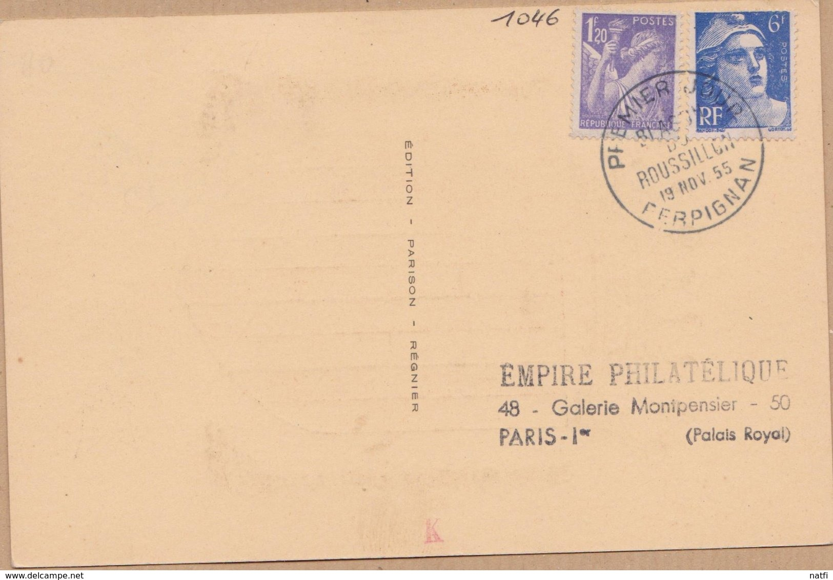 CARTE TIMBRE    1955 BLASON DU ROUSSILLON PERPIGNAN VOIR PHOTOS - Maximum Cards