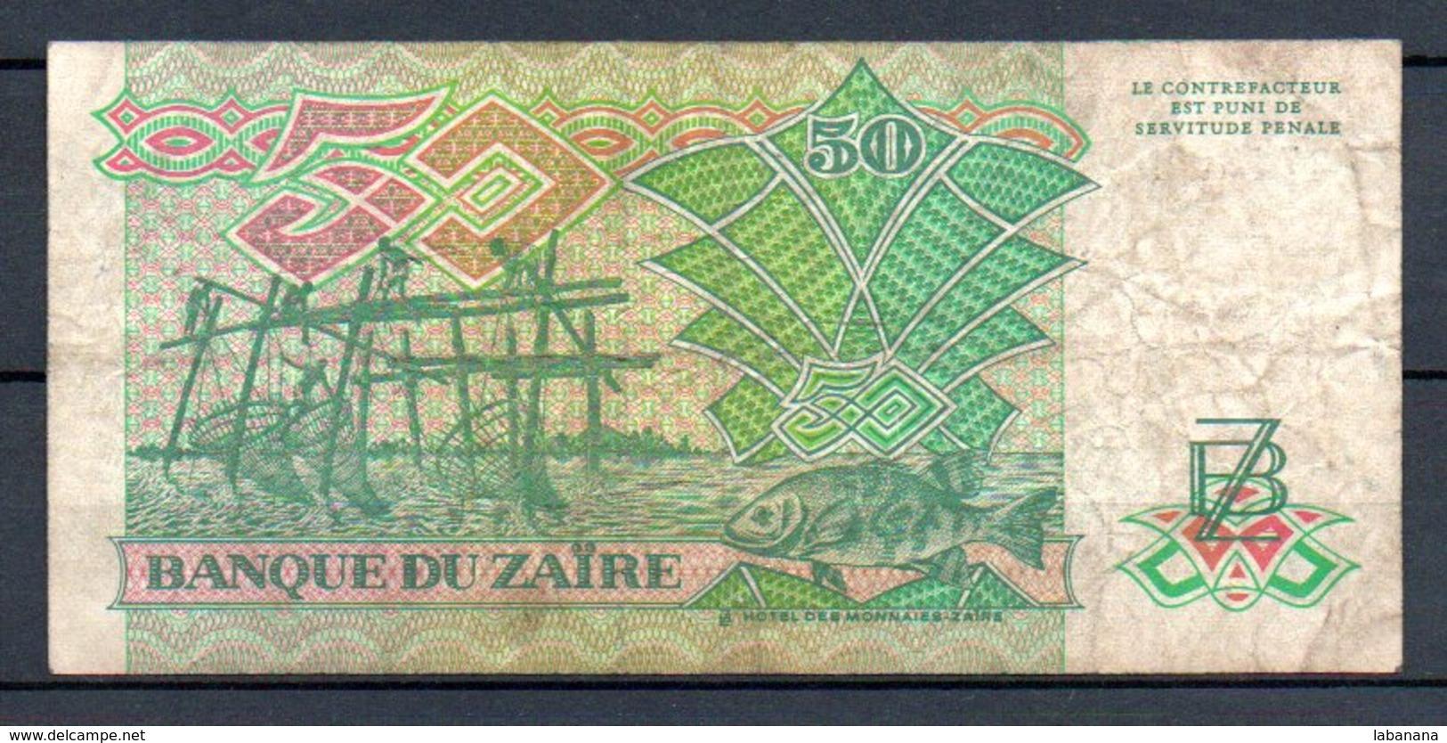 329-Zaïre Billet De 50 Zaïres 1988 C271D - Zaïre