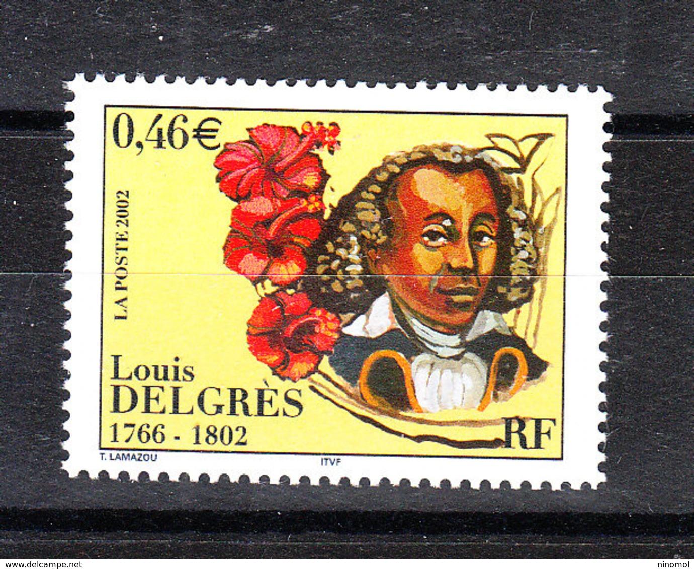 Francia - 2002. Luis Delgrés, Antischiavista Del '700. Anti-slavery Of The '700. Flower Of Martinica. MNH - Celebrità