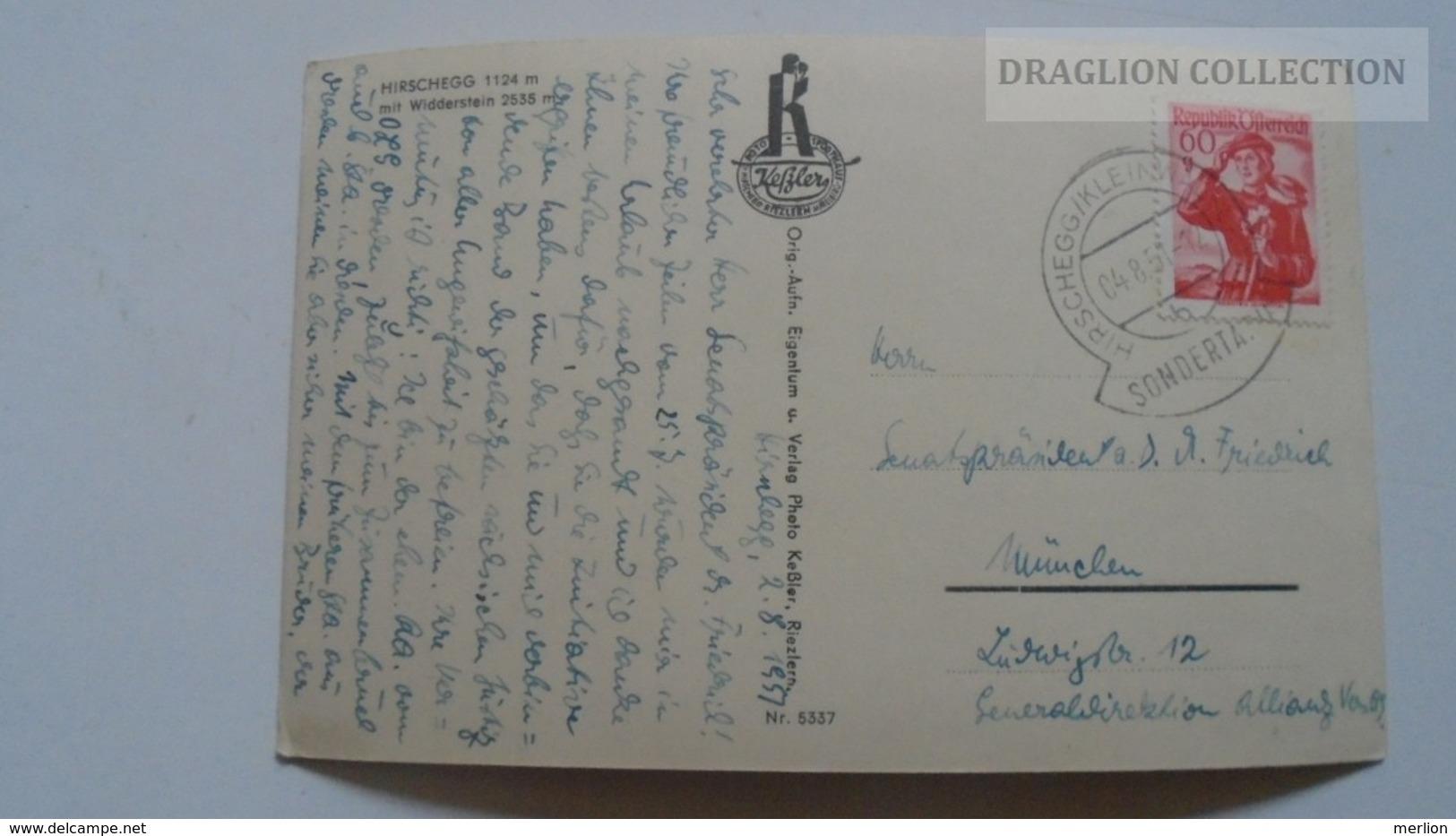 D167270    Austria     Hirschegg - Kleinwalsertal - Vorarlberg  - Mit Widderstein PU 1951  FOTO AK  Keßler -Riezlern - Kleinwalsertal