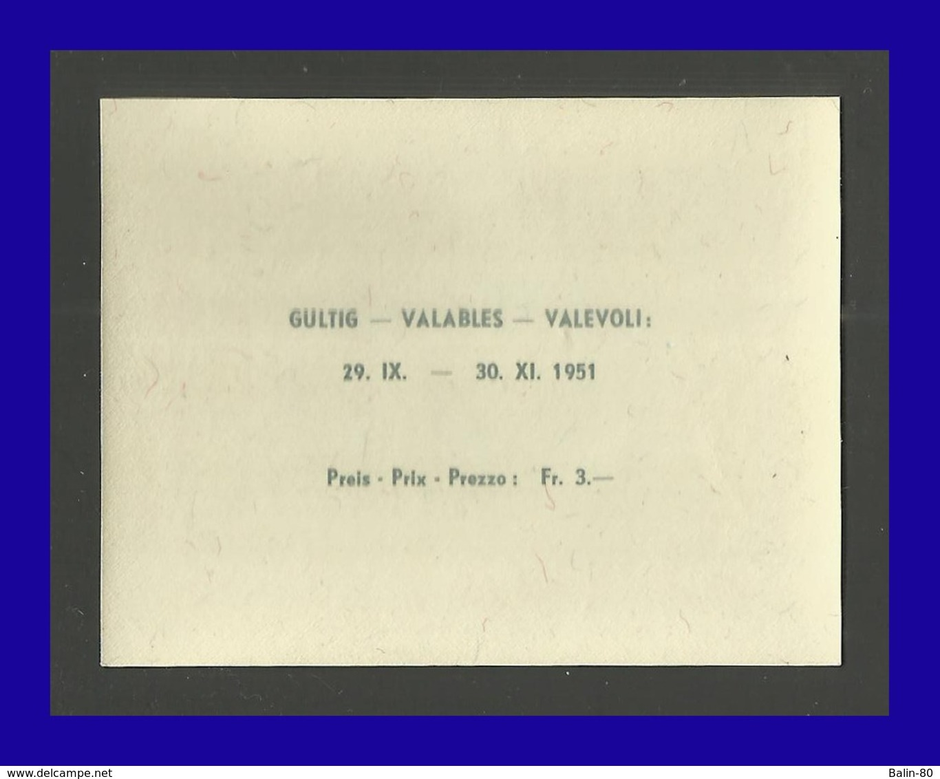 1951 - Suiza - Scott Nº B 206** - Exposicion Filatelica - LUNABA - MNH - Lujo - SU- 033 - Bloques & Hojas