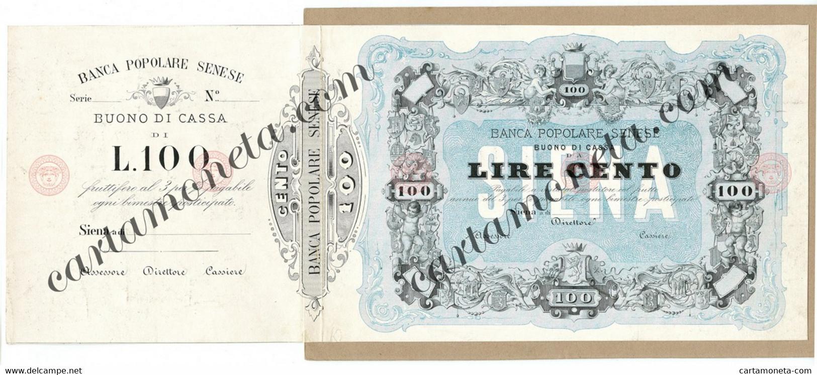 100 LIRE PROVA SU CARTONCINO INEDITO BANCA POPOLARE SENESE 1875/70 BB/SPL - [ 8] Falsi & Saggi