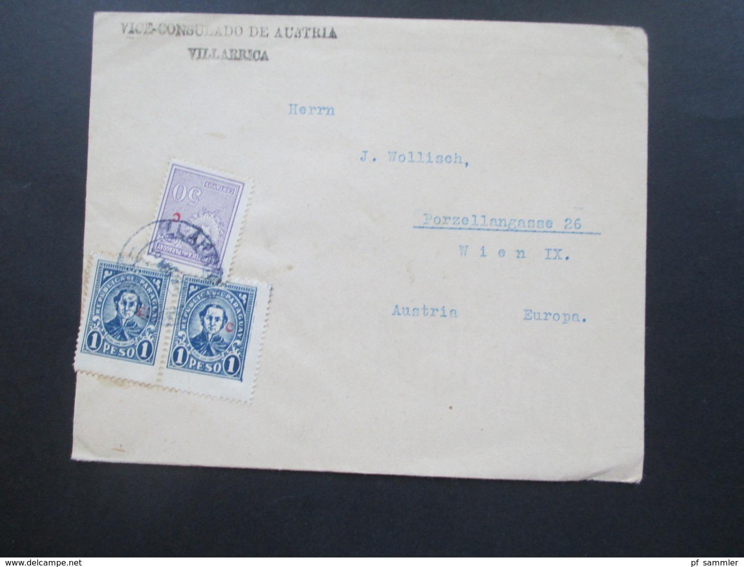 Paraguay Beleg Des Vice Consulado De Austri Villarrica - Wien 3 Marken Mit Aufdruck Kleines Rotes C 1930er Jahre - Paraguay