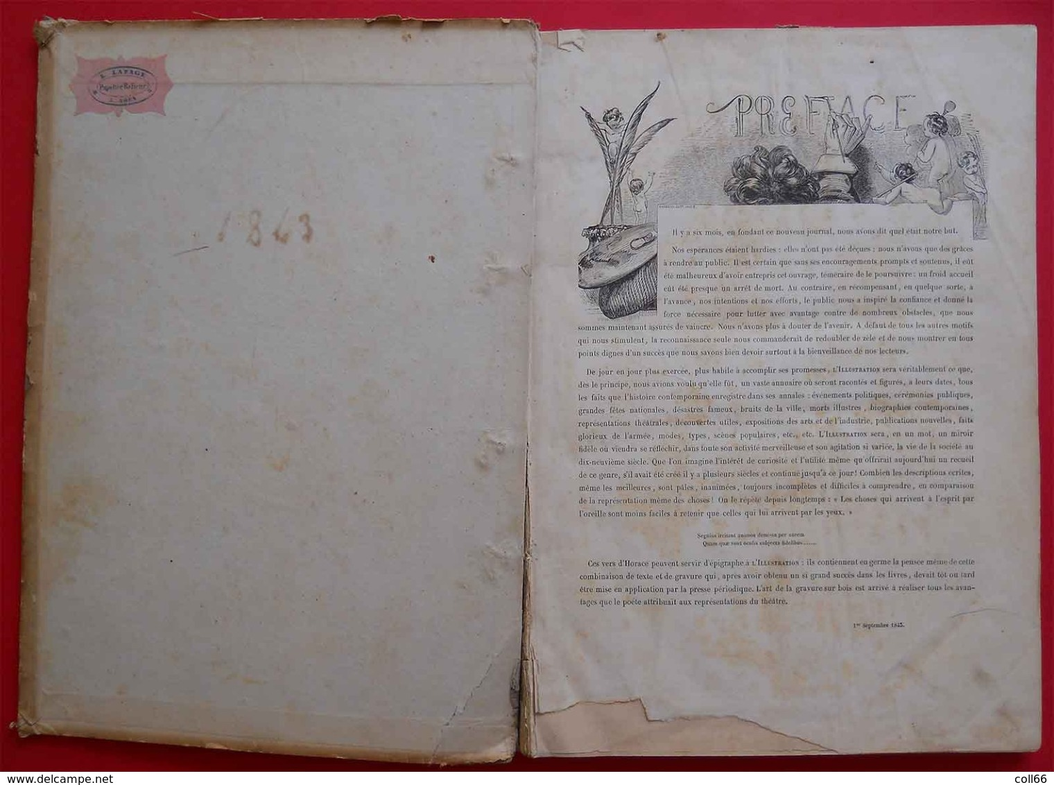 RARE 1843-1844 L'Illustration Tome 1 & 2 Reliés Carton N°1 (mars 1843) à 26 Et 27 à 52 (février 1844) Dedans Très Propre - Boeken, Tijdschriften, Stripverhalen