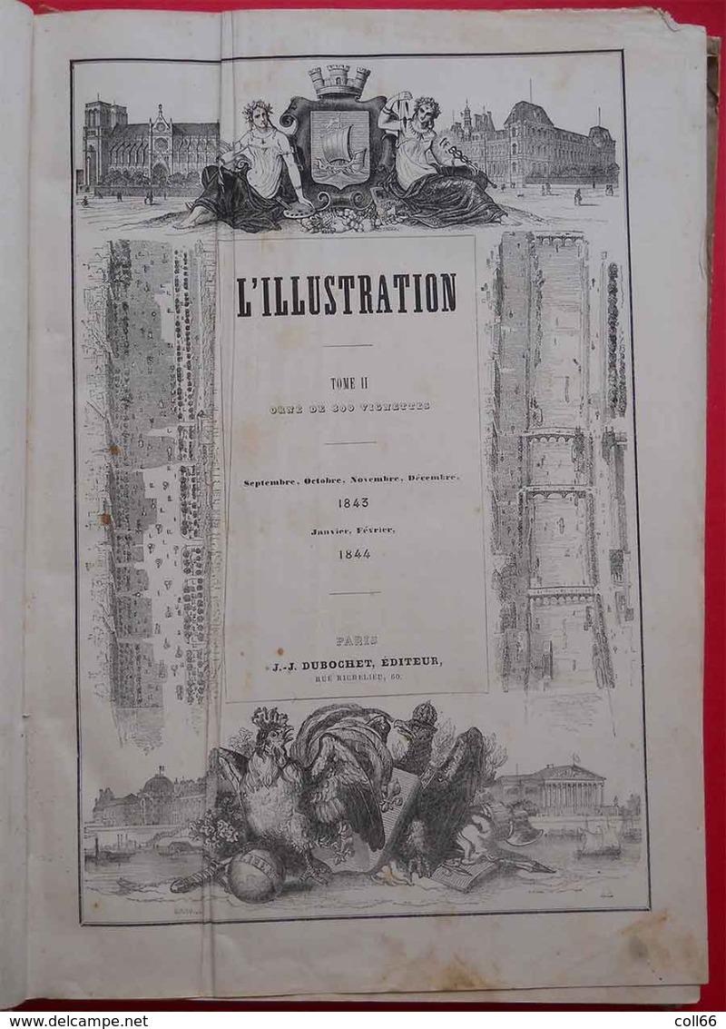 RARE 1843-1844 L'Illustration Tome 1 & 2 Reliés Carton N°1 (mars 1843) à 26 Et 27 à 52 (février 1844) Dedans Très Propre - 1801-1900