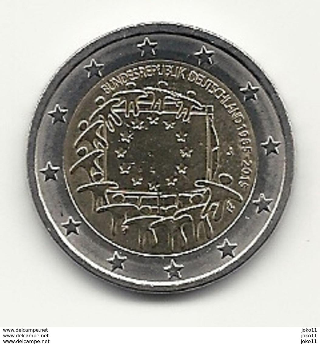 2 Euro, 2015, Europaflagge, Prägestätte (J), Vz, Guterhaltene Umlaufmünze - Deutschland