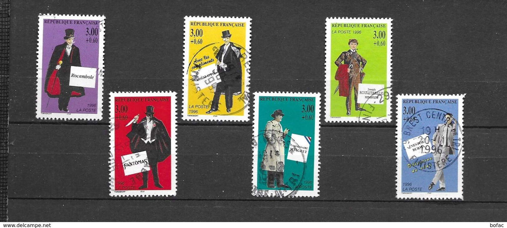 3025 3026 3027 3028 3029 3030   OBL  Y & T  «Héros Français Du Roman Policier »   30/15A - Used Stamps