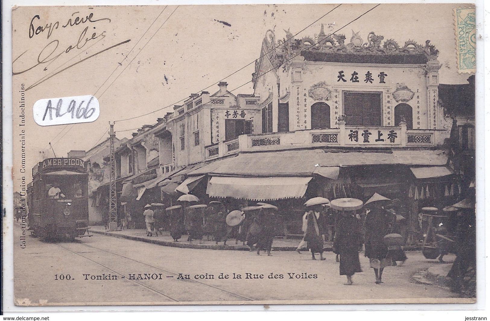TONKIN- HANOI- LE TRAMWAY PUB AMER PICON AU COIN DE LA RUE DES VOILES - Postcards