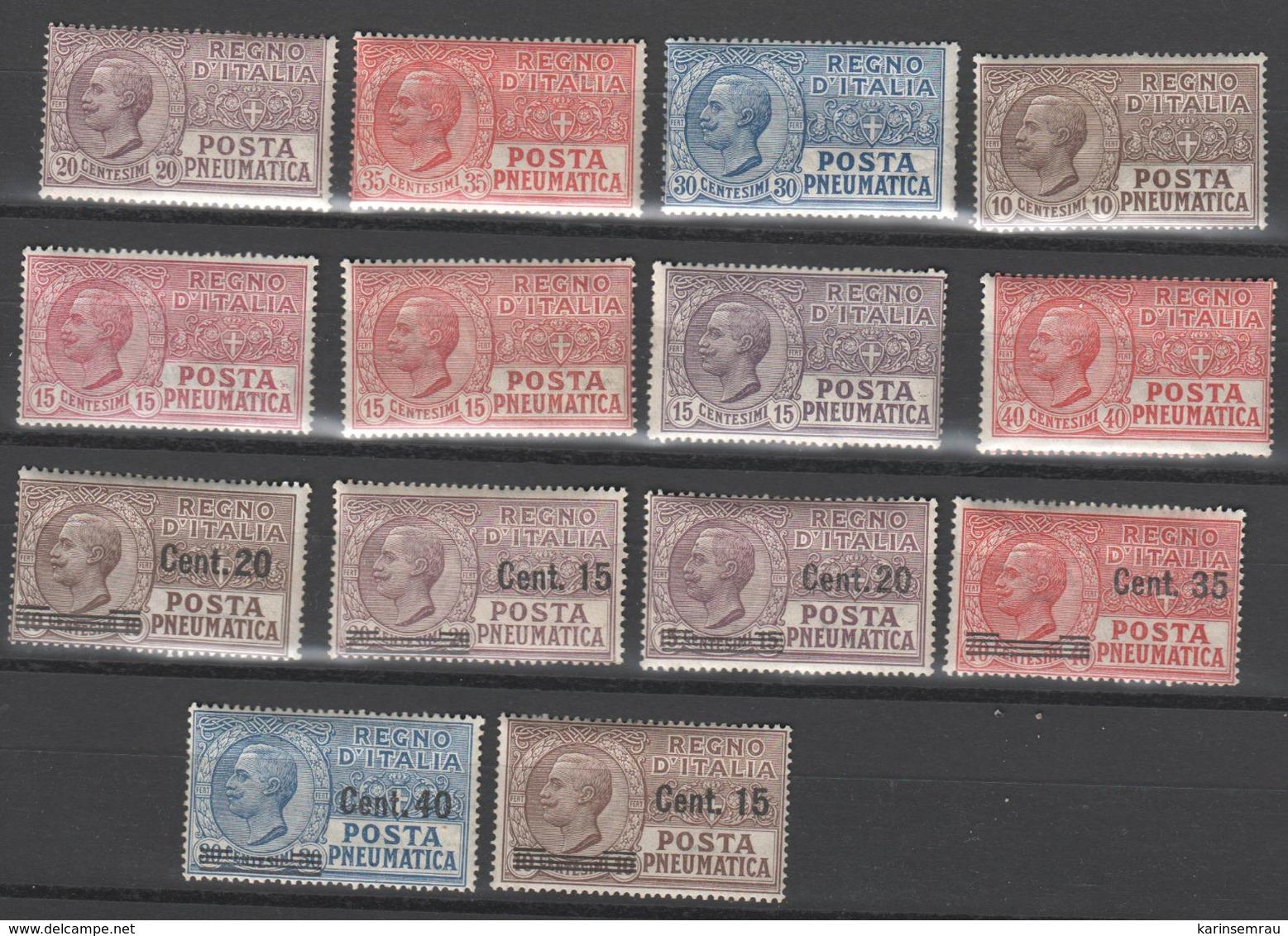 Italien , Posta Pneumatica , 14 Verschiedene Alte Marken Ungebraucht - 1900-44 Victor Emmanuel III.