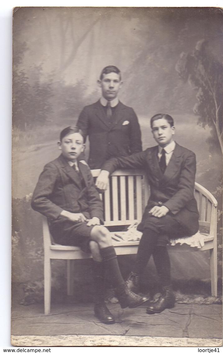 Photo Foto Fotokaart - 3 Jonge Mannen - Fotograaf L. Collin - Alost Aalst - Photos