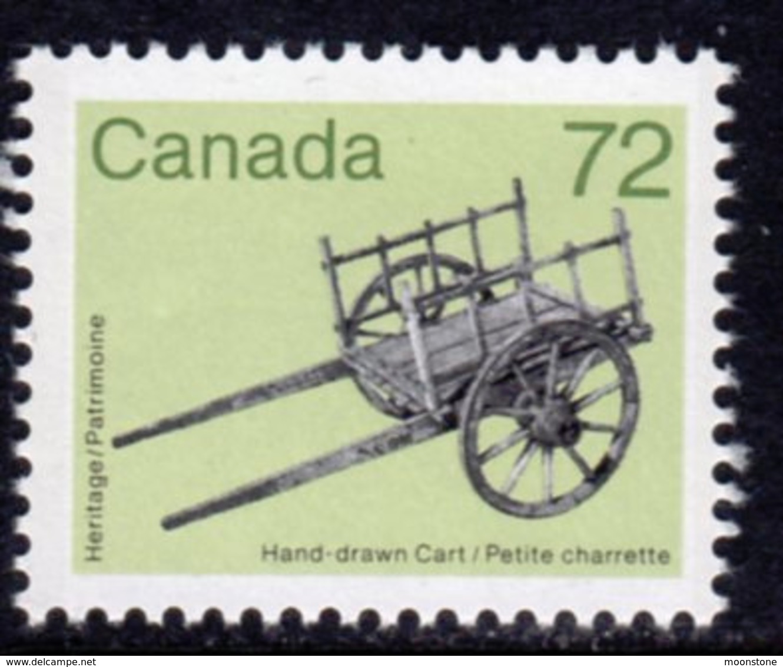 Canada 1982-7 Heritage Artefacts Definitives 72c Hand Cart, MNH, SG 1069 - 1952-.... Reign Of Elizabeth II
