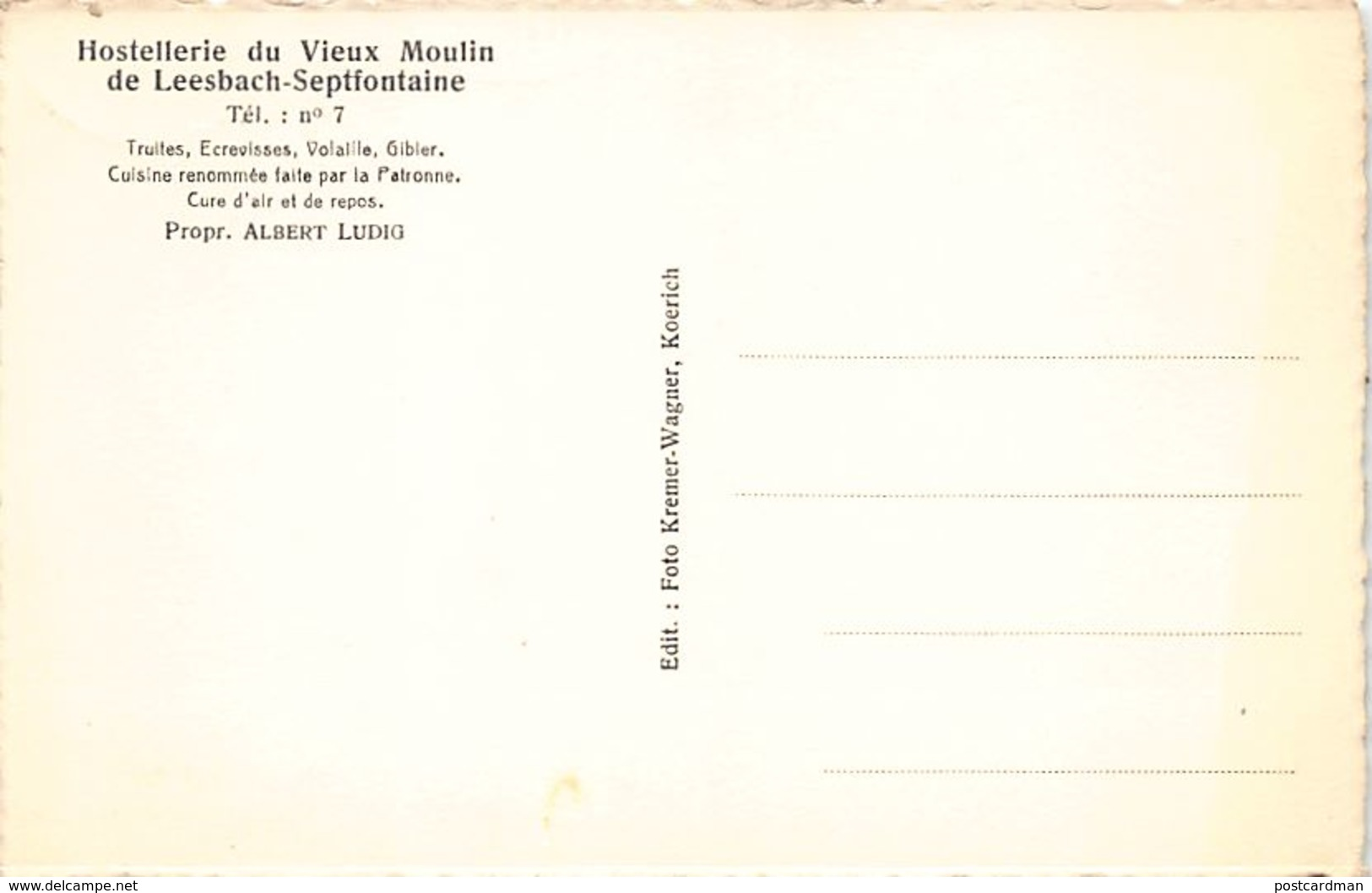 LEESBACH - SEPTFONTAINES - Hostellerie Du Vieux Moulin - Ed. Kremer-Wagner. - Cartoline