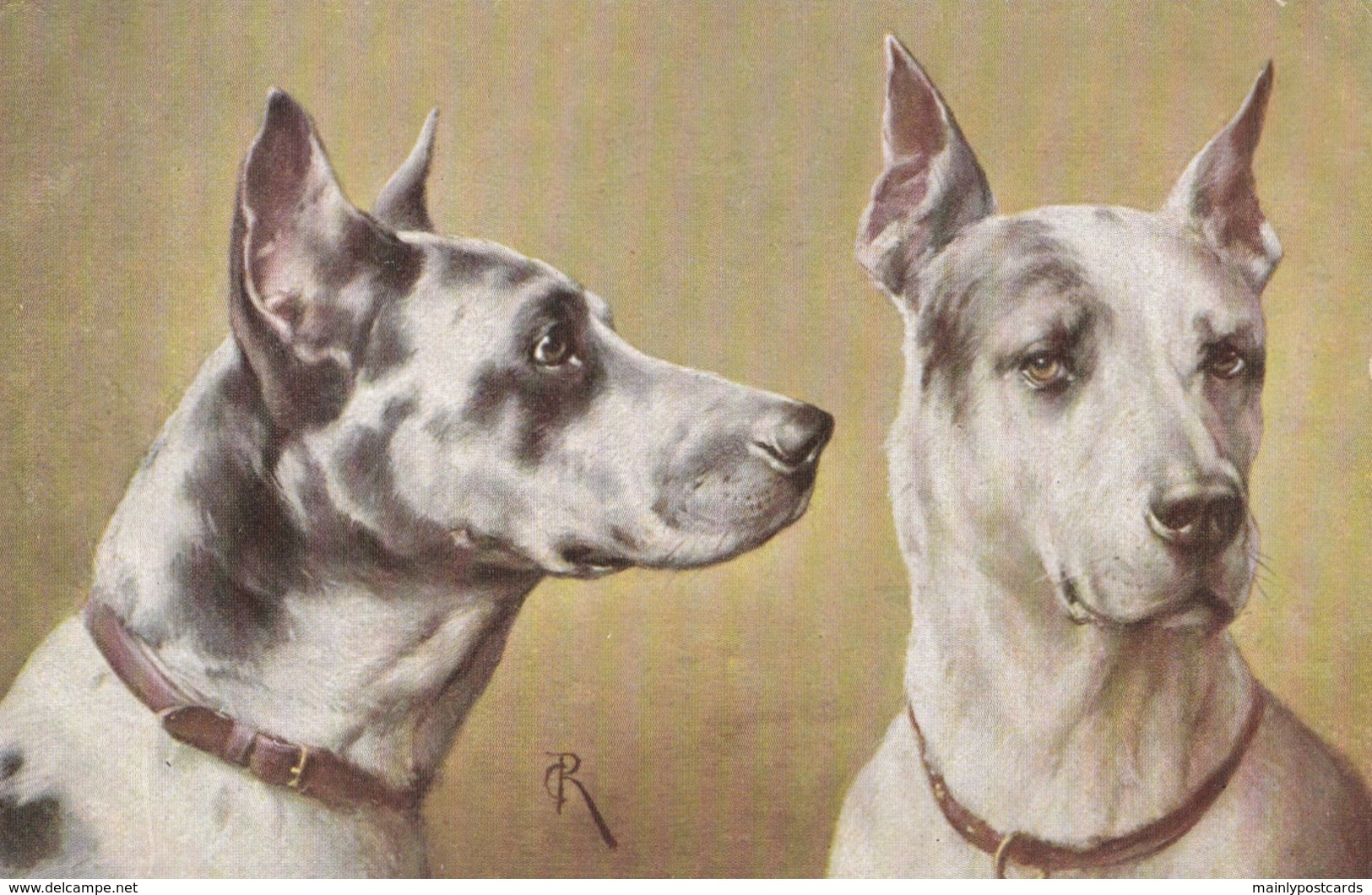 AS91 Animals - Dog - 2 Dogs, Artist Signed  CR (C. Reichert) - Dogs
