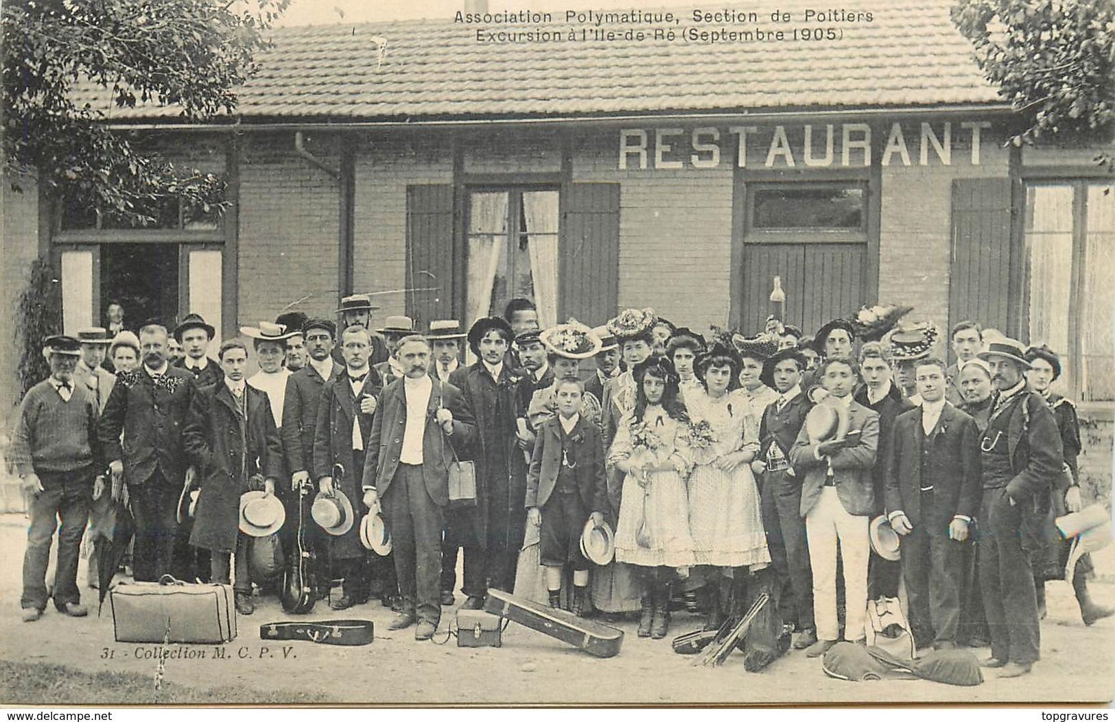 CP ASSOCIATION POLYMATIQUE SECTION DE POITIERS EXCURSION A L'ILE DE RE SEPTEMBRE 1905 - Ile De Ré