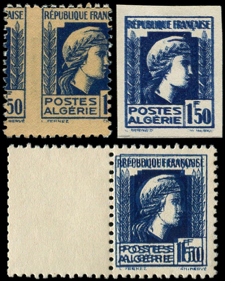 ALGERIE Poste ** - 214, 3 Exemplaires Avec Variété, Non Dentelé + Double Impression + Recto-verso - Algeria (1924-1962)
