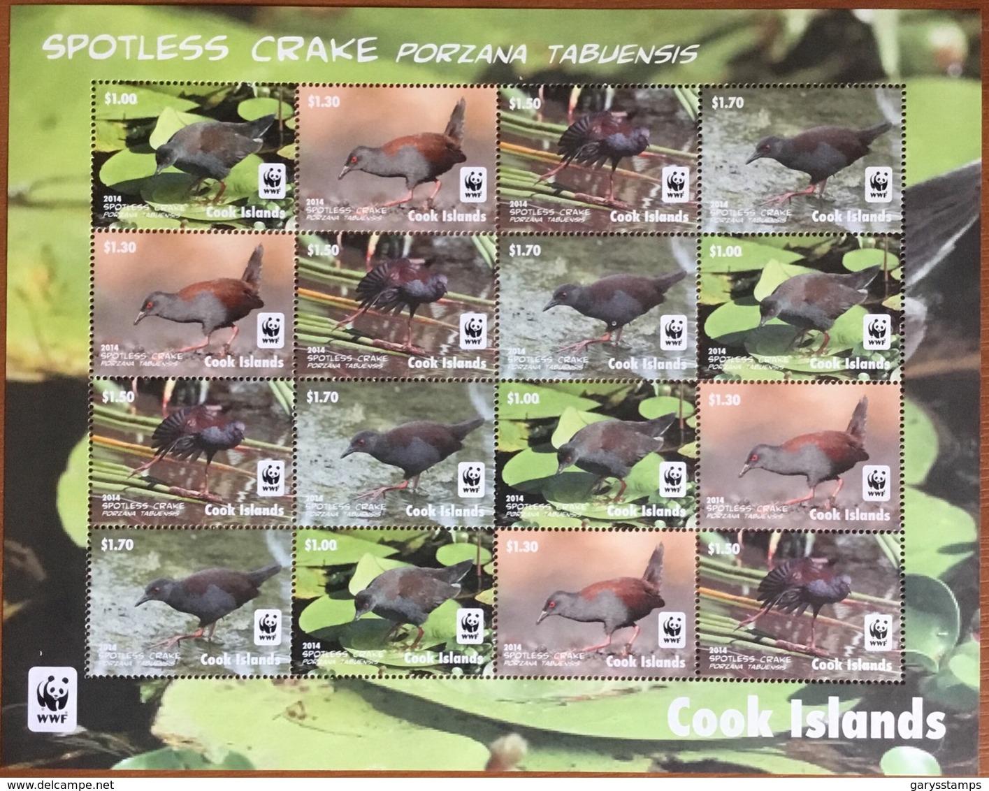 Cook Islands 2014 WWF Spotless Crake Birds Sheetlet MNH - Vögel