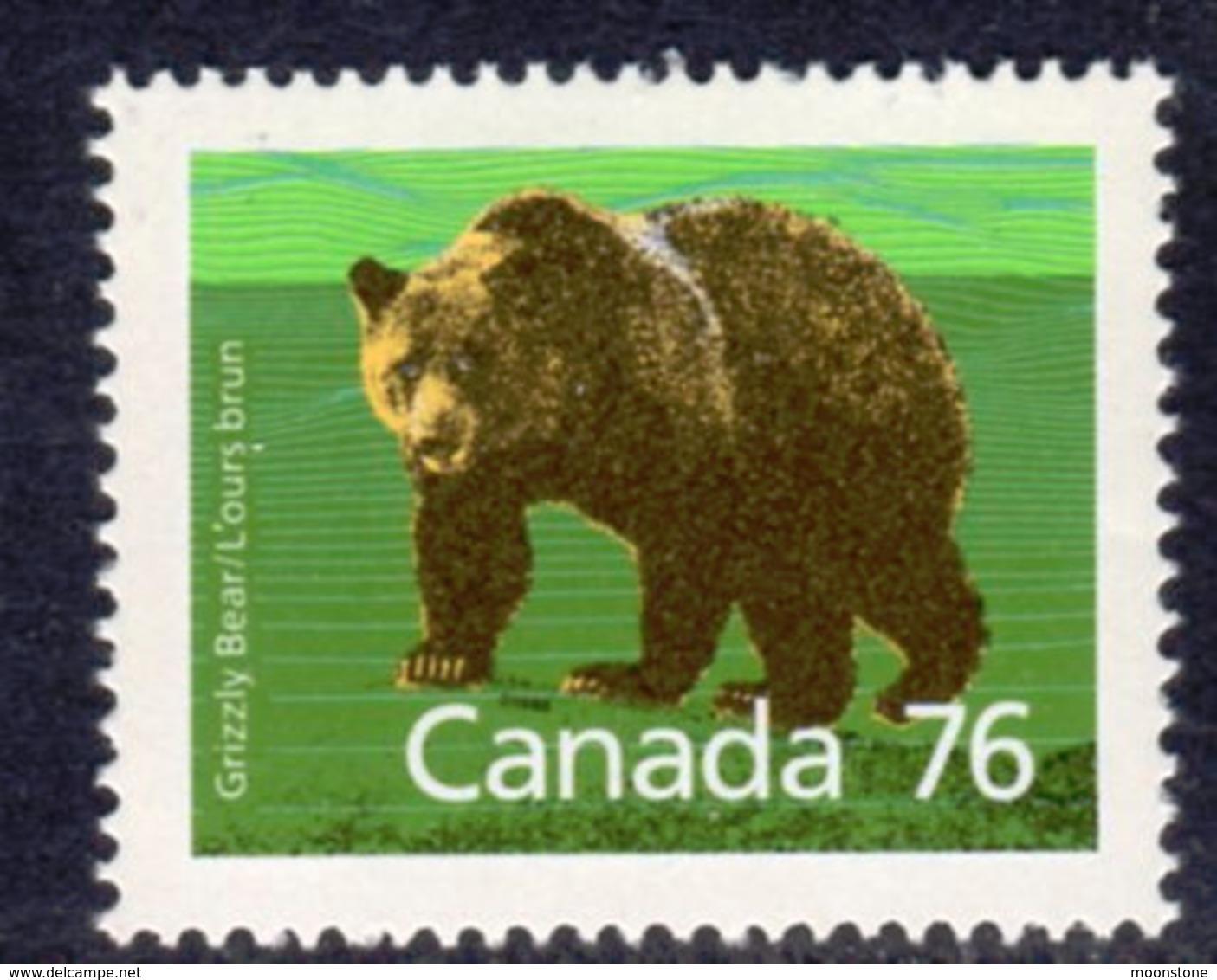 Canada 1988-93 Mammals Definitives 76c Brown Bear Value, MNH, SG 1275 - 1952-.... Reign Of Elizabeth II