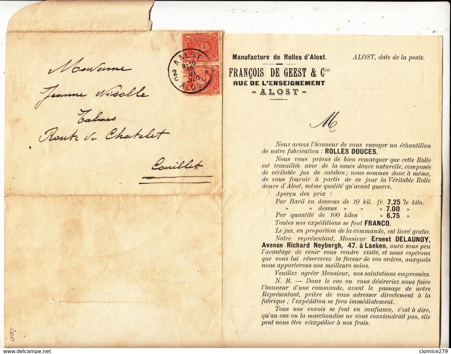 Lettre Publicitaire  De 1920 Maison François De  Geest  Alost - 1915-1920 Albert I