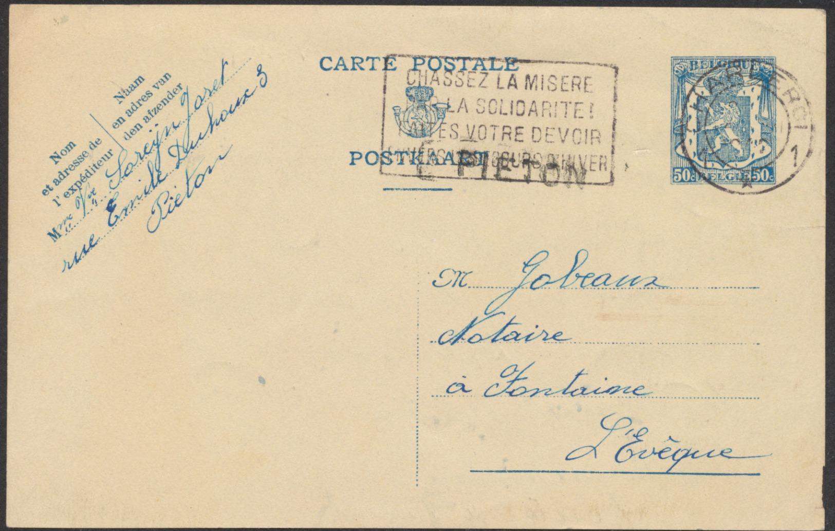 """EP Au Type 50ctm Bleu Obl Mécanique """"Charleroi 1"""" + Griffe à L'origine PIETON Vers Fontaine-l'évêque. - Enteros Postales"""
